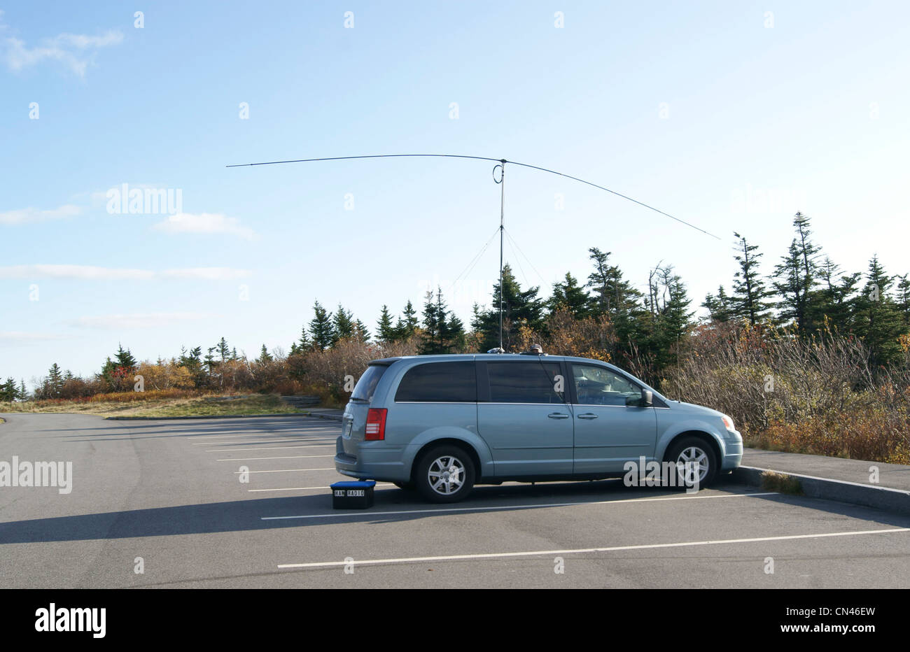 Car with ham radio (amateur radio) in a parking lot, Cadillac Mountain, Maine. - Stock Image