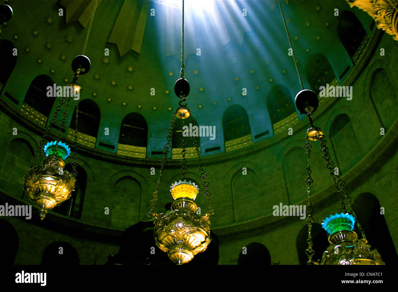 Ethereal view of the dome of the Church of the Holy Sepulchre Jerusalem Stock Photo