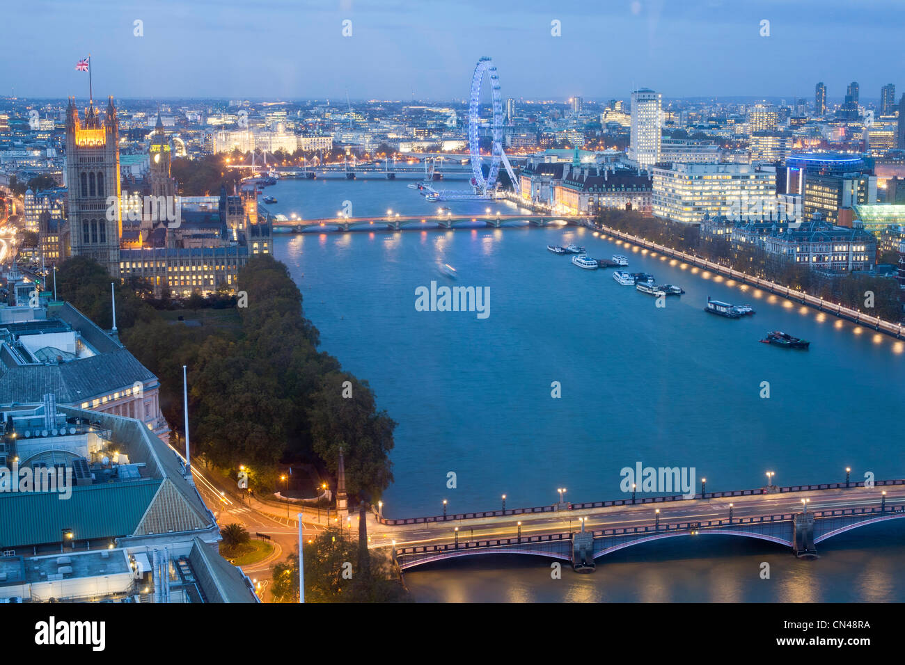 United Kingdom, London, view at dusk from Altitude London over Lambeth Bridge, Westminster Abbey, the Thames and - Stock Image