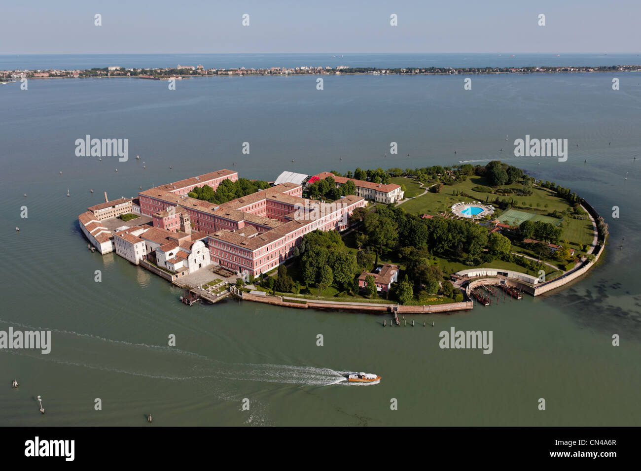 Italy, Veneto, Venice, listed as World Heritage by UNESCO, island and San Clemente Palace (aerial view) Stock Photo