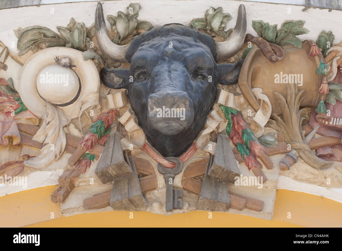 France, Landes, Dax, bullring, detail of the bullring pediment dating 1913 Stock Photo
