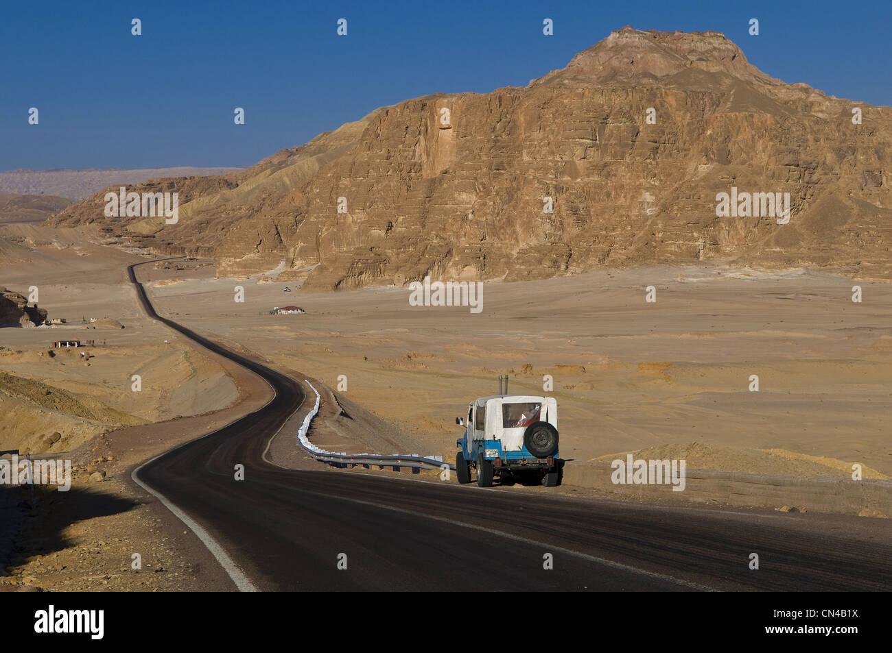 Egypt, Sinai Desert on the Red Sea, road between Taba and St Catherine Mountain - Stock Image