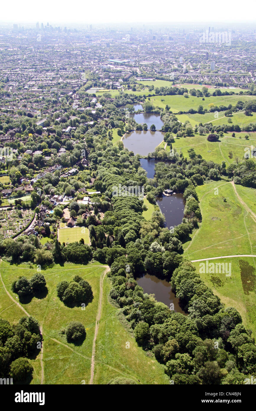 Aerial view of Highgate Ponds, near Parliament Hill, Millfield Lane, Hampstead Heath, London N6 - Stock Image