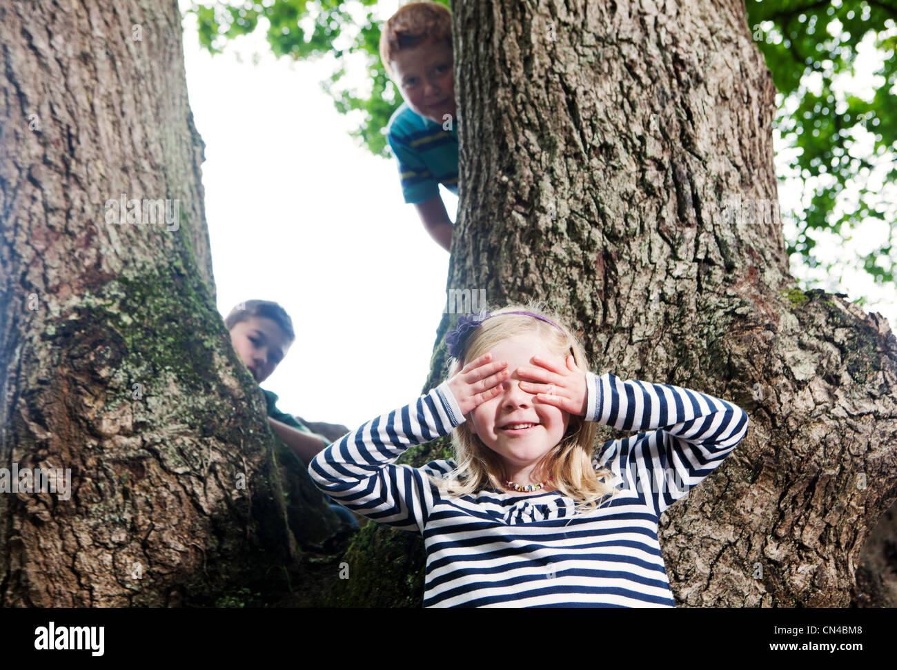 Hide Seek Kids: Climbing Down A Tree Stock Photos & Climbing Down A Tree