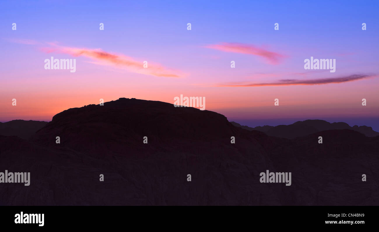 Sunset view from the top of Mount Sinai, Egypt - Stock Image