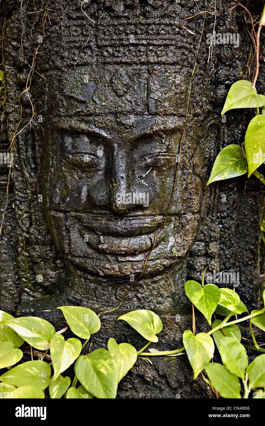 Stone Buddha carving, Siem Reap, Cambodia - Stock Image