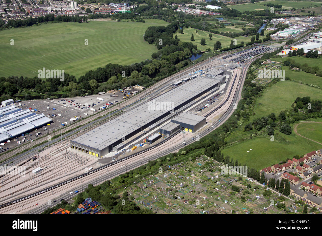 Aerial view of the Eurostar Engineering Centre Temple Mills, Leyton, London E10 - Stock Image