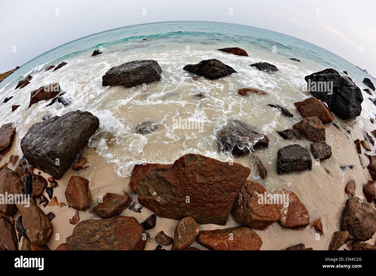 Fish eye view of Bai Nhat Beach on Con Dao Island, Vietnam  , Vietnam - Stock Image