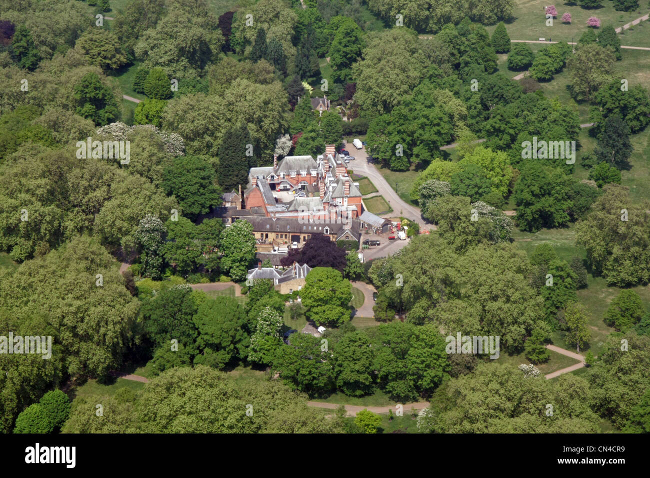 aerial view of the Ranger's Lodge & Ranger's Cottage in Hyde Park, London - Stock Image