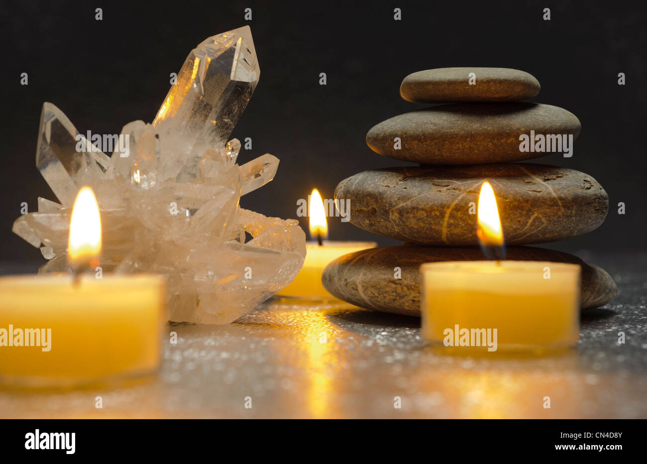 quartz crystal and zen stones with candles stock photo 47426763 alamy