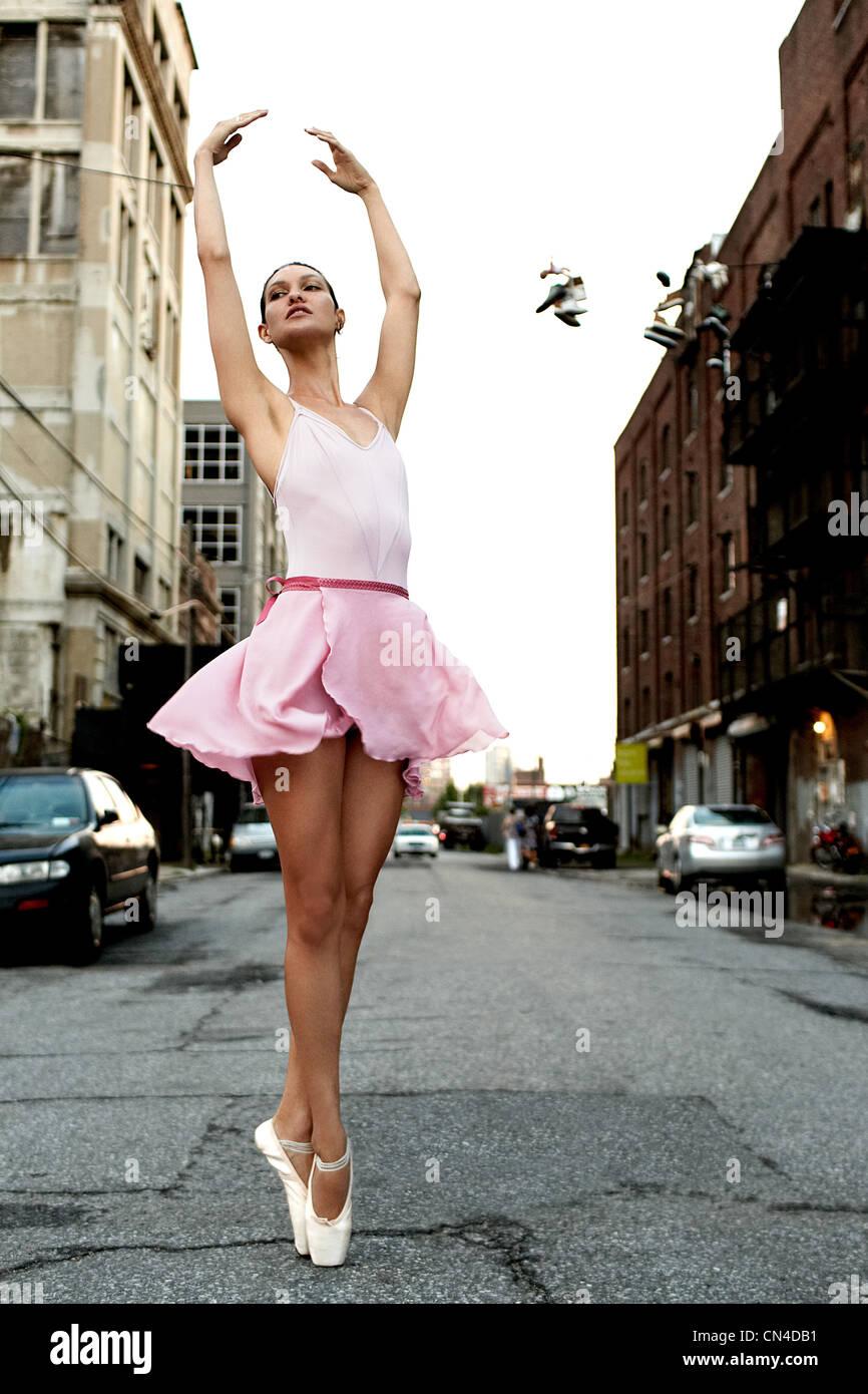 Ballerina on an urban street - Stock Image