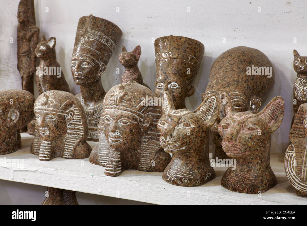 Basaltic souvenir from Egypt, Pharaoh statue - Stock Image