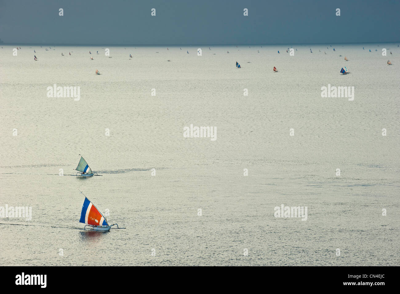Indonesia, Bali Island, Amed village, canoe called Perahunelayan near Bunutan beach - Stock Image