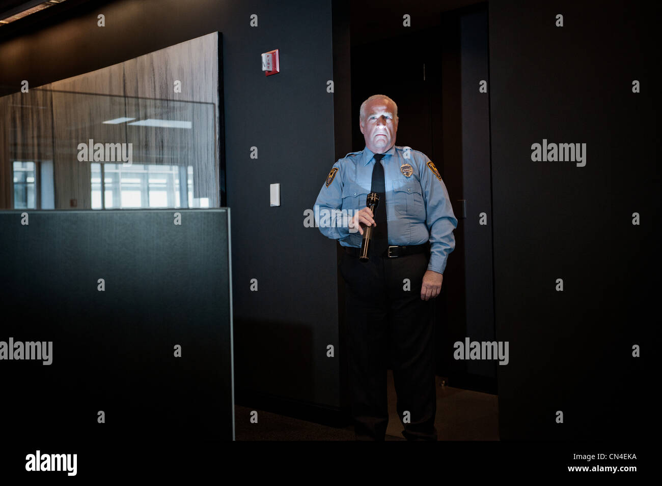 Security guard illuminating face with torch - Stock Image
