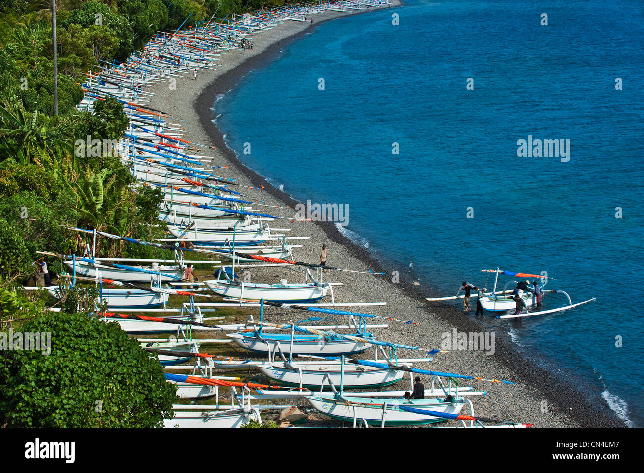 Indonesia, Bali Island, Amed village, canoe called Perahunelayan on Bunutan beach - Stock Image