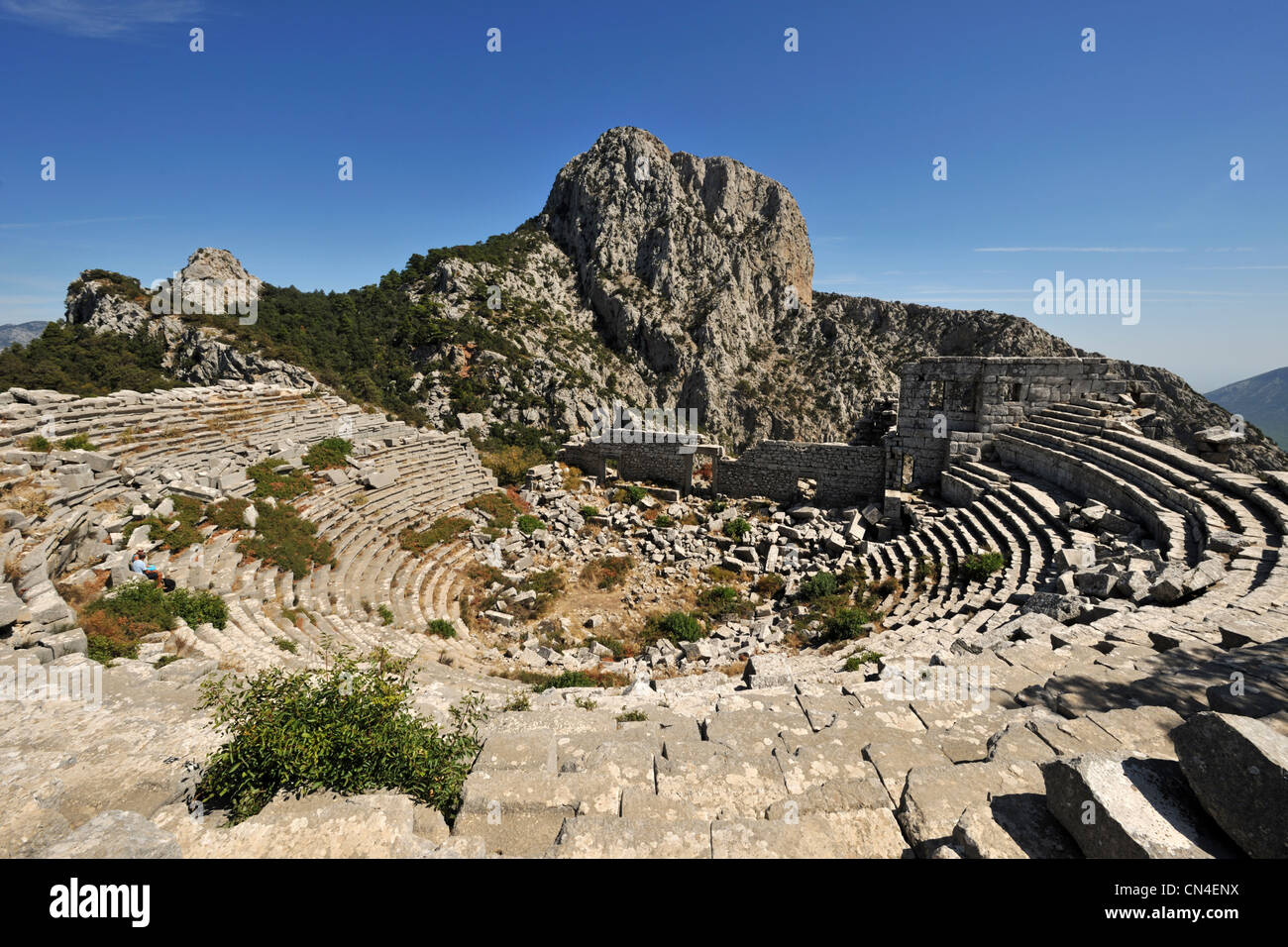 Turkey, Mediterranean Region, Turquoise Coast, Pamphylia, Termessos site, the theatre - Stock Image