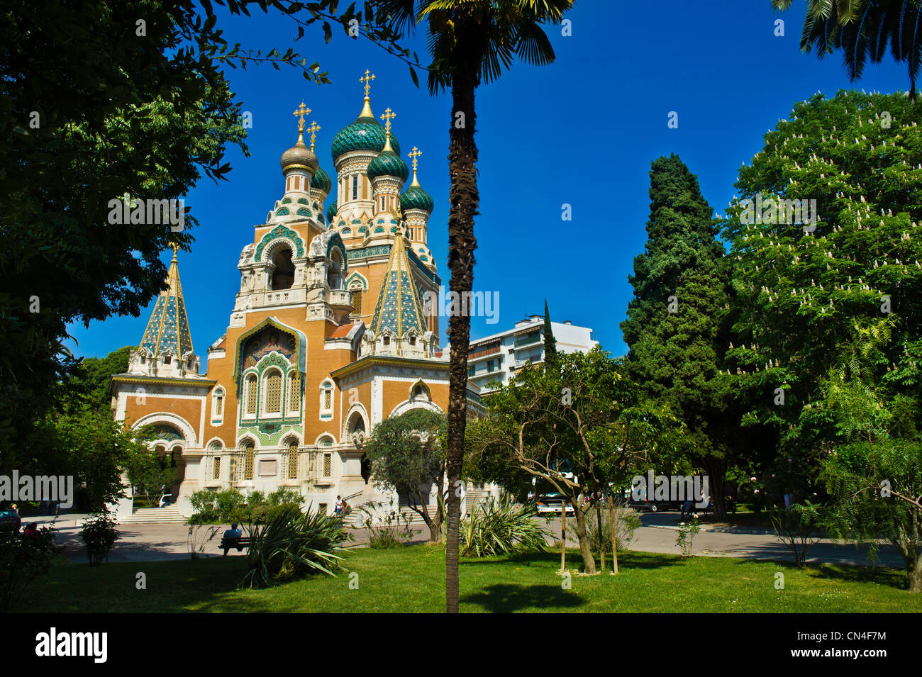 France, Alpes Maritimes, Nice, Russian Orthodox Cathedral of St Nicolas and St Alexandra built in 1859 on Boulevard Stock Photo