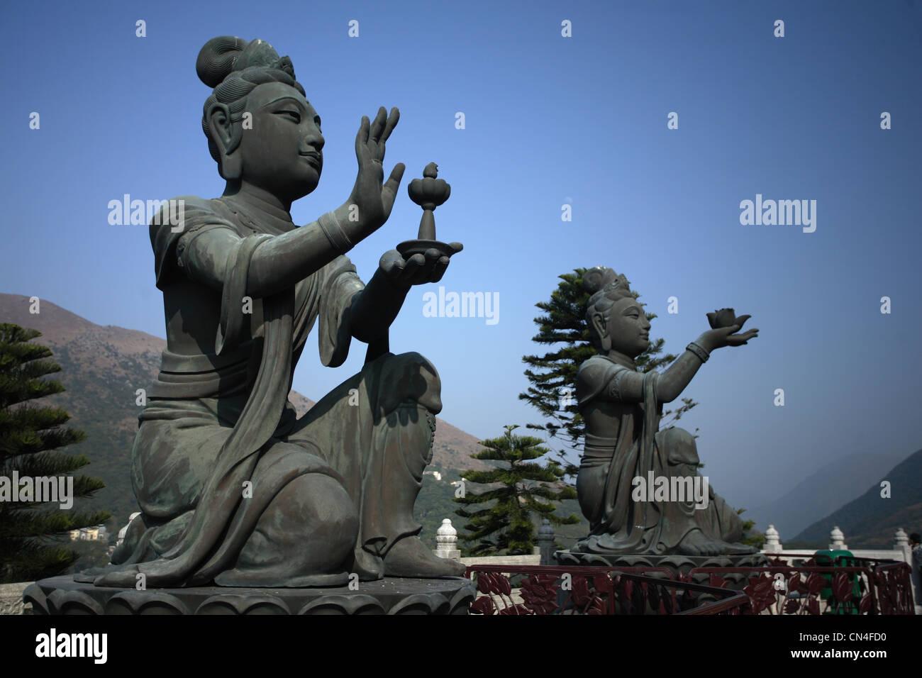 Female Buddhist Sculpture near to the Big Buddha of Lantau Island - Stock Image