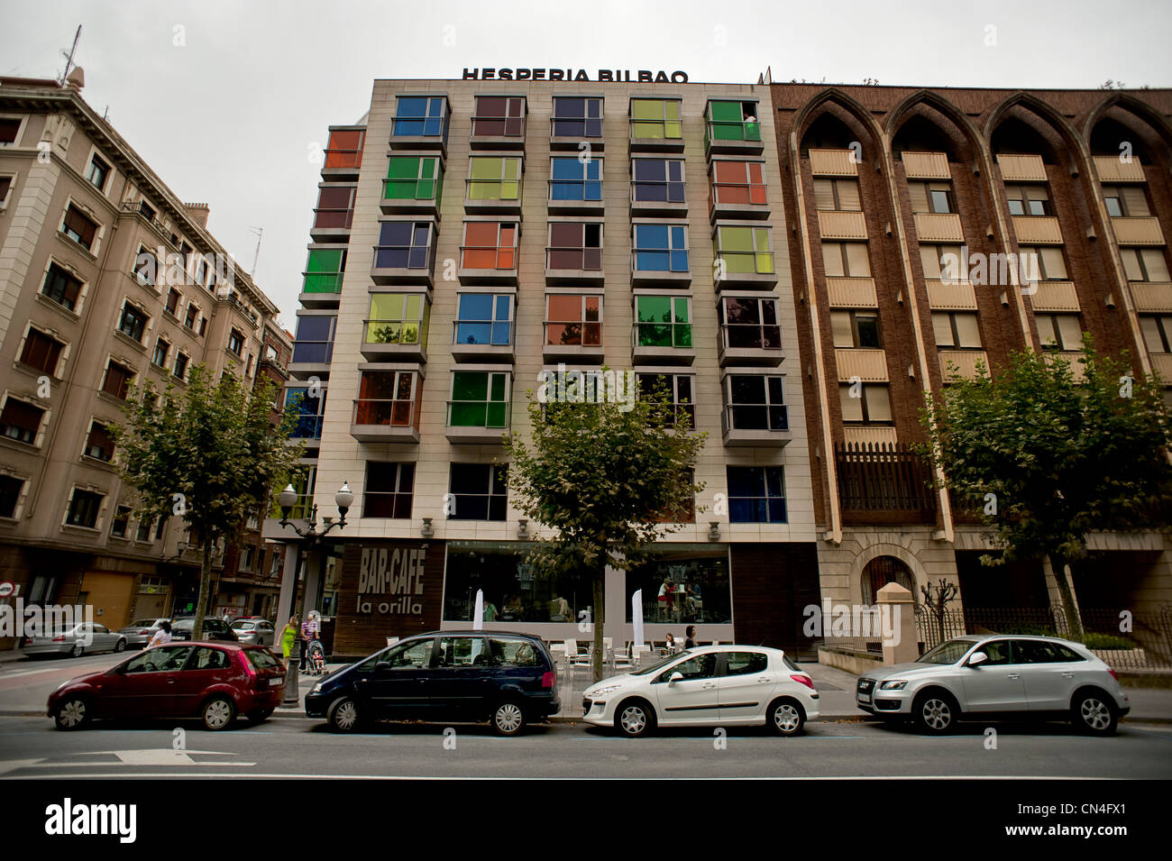 facade of the hesperia hotel in bilbao, basque country, spain Stock Photo