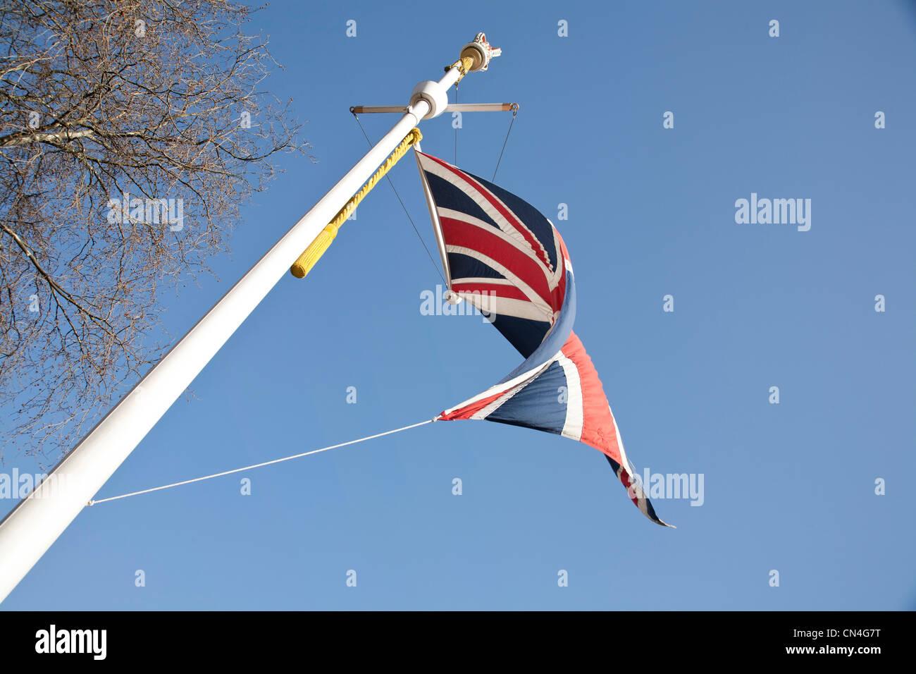 United Kingdom, Union Jack flag on the Mall London - Stock Image
