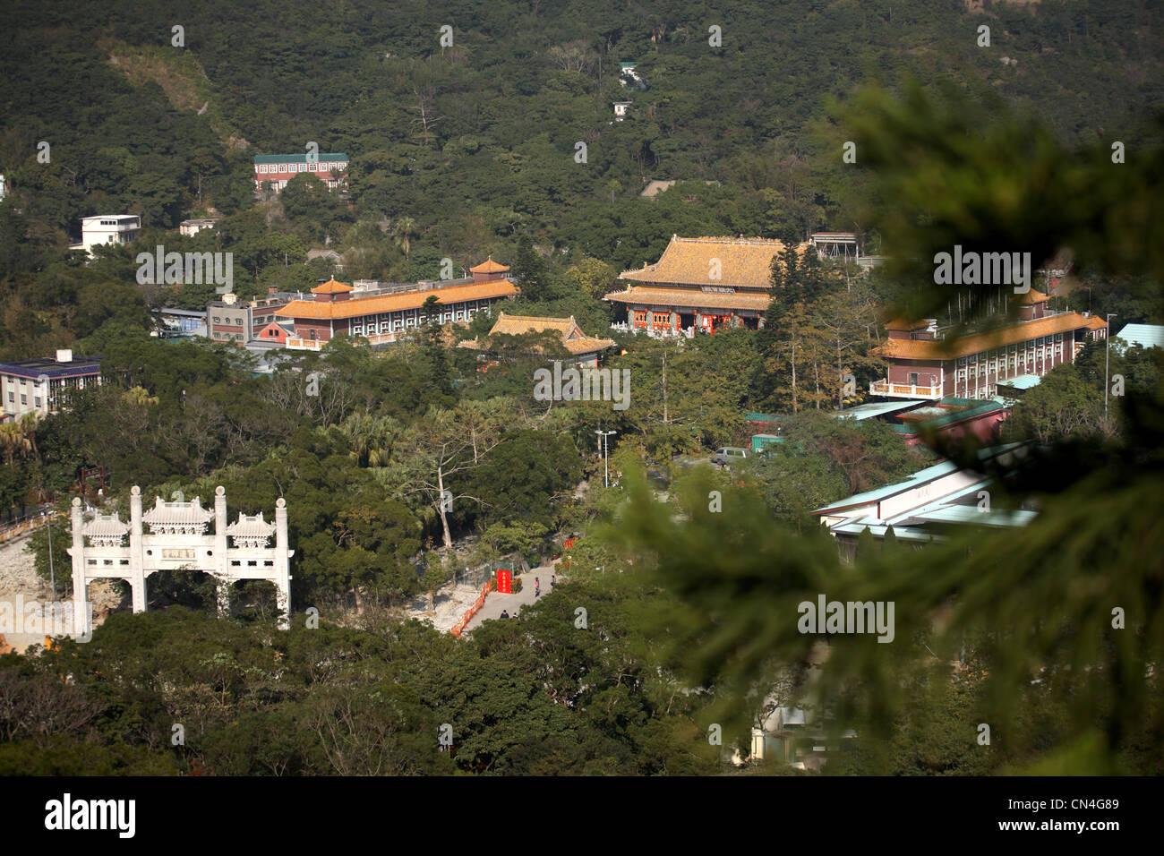 View of Po lIn Monastery from the Big Buddha, Lantau Island, Hong Kong - Stock Image