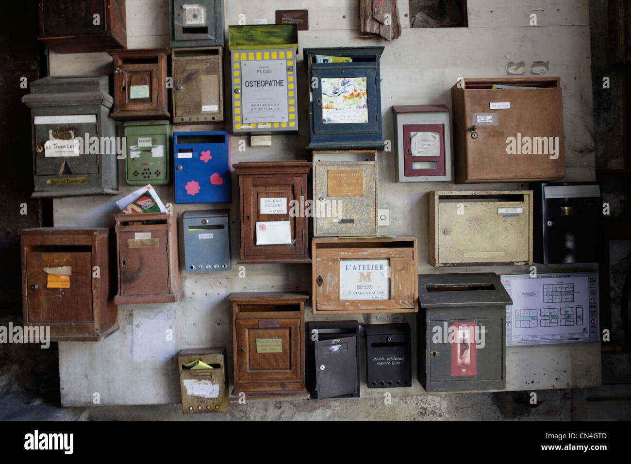 France, Bouches du Rhone, Marseille, mailboxes - Stock Image