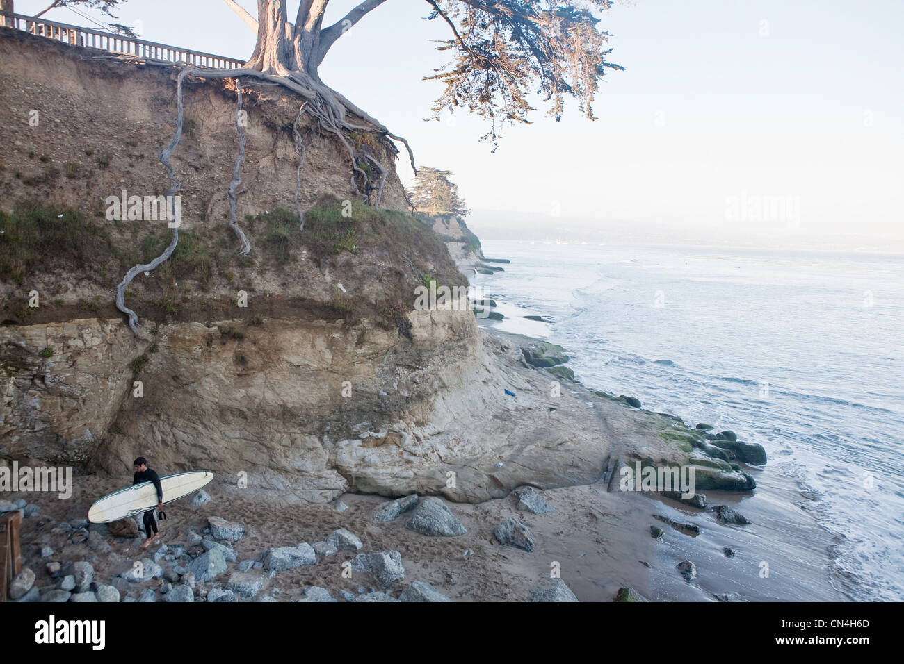 Lone surfer on rocky beach - Stock Image