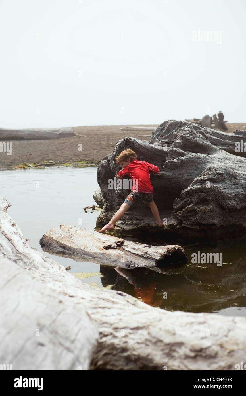 Boy climbing on pieces of driftwood - Stock Image