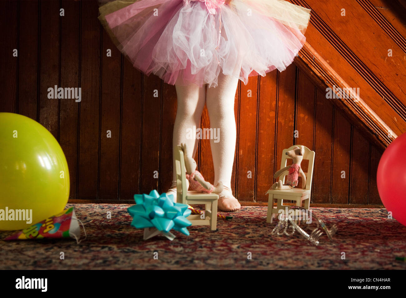 Low section of girl wearing tutu Stock Photo