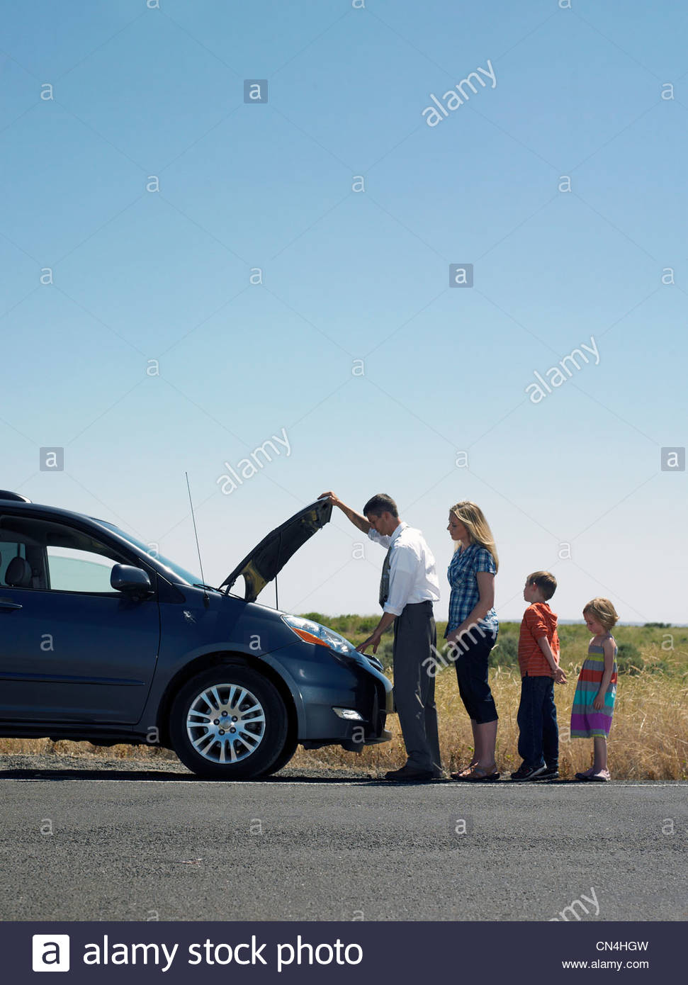 Broken Down Abandoned Stock Photos Broken Down Abandoned: Family Roadside Broken Down Car Stock Photos & Family