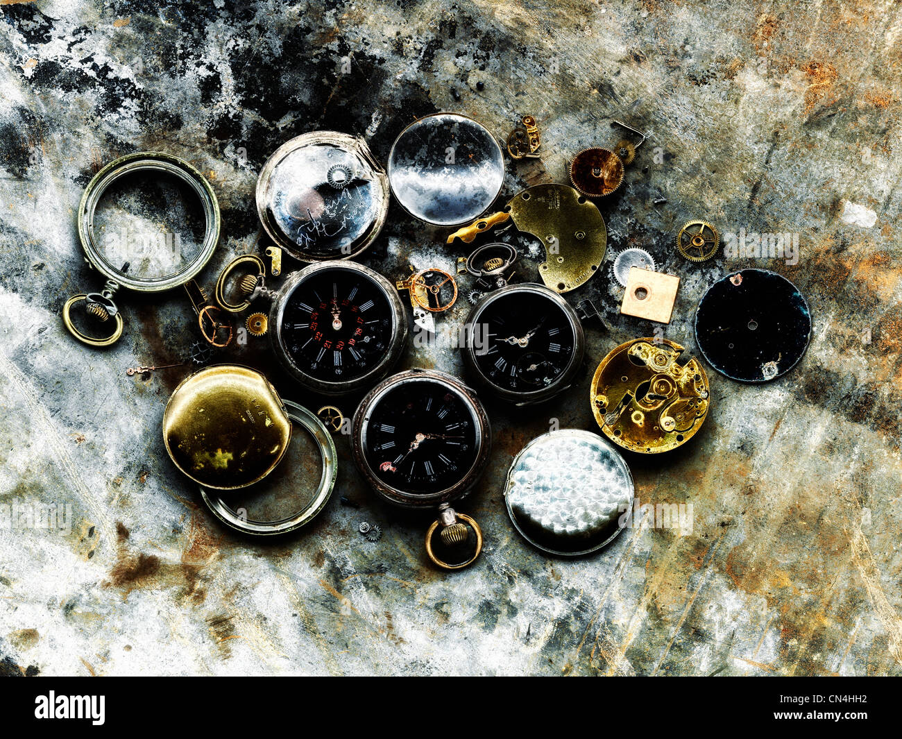 Broken pocket watches Stock Photo