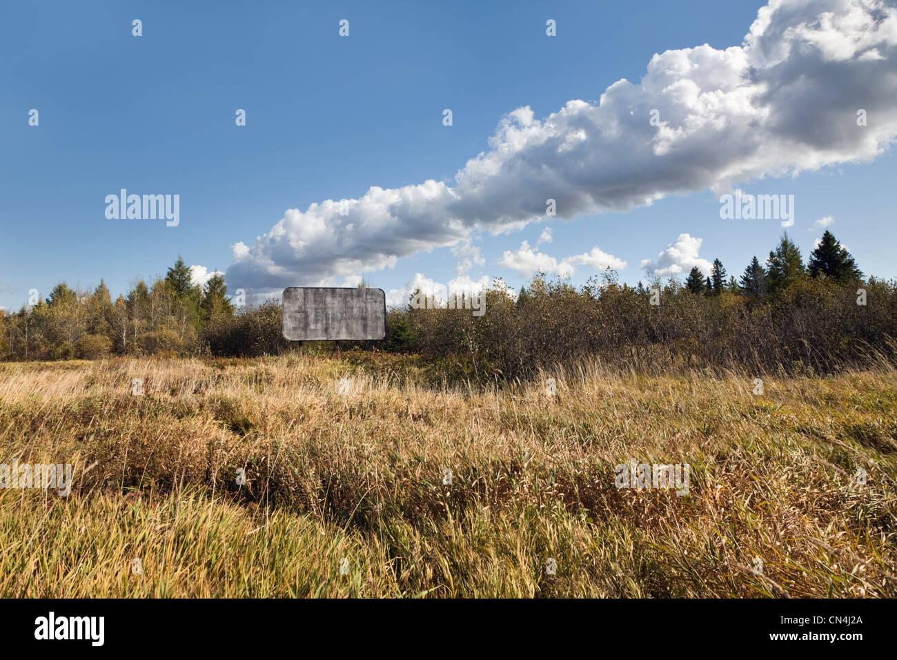 Old billboard in a field - Stock Image