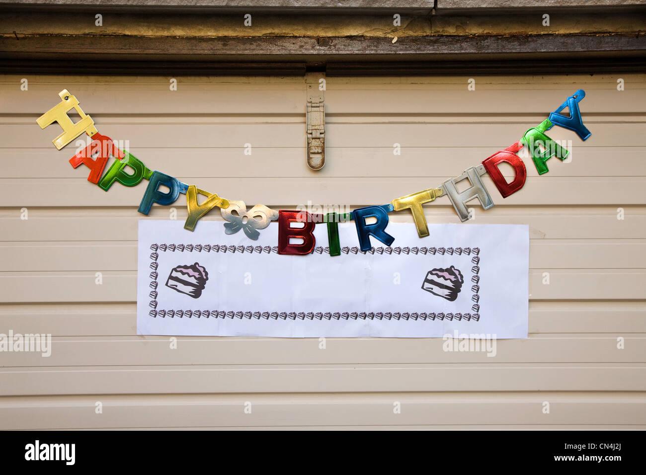 Happy birthday sign - Stock Image