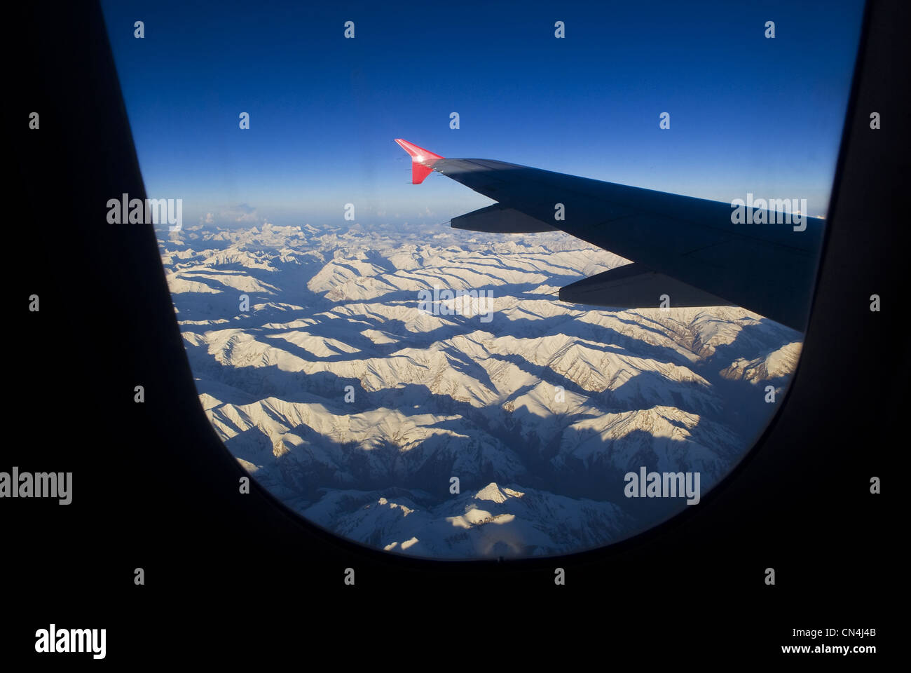 India, Jammu and Kashmir State, Ladakh Region, Himalayan foothills, view from plane before landing at Leh Airport - Stock Image