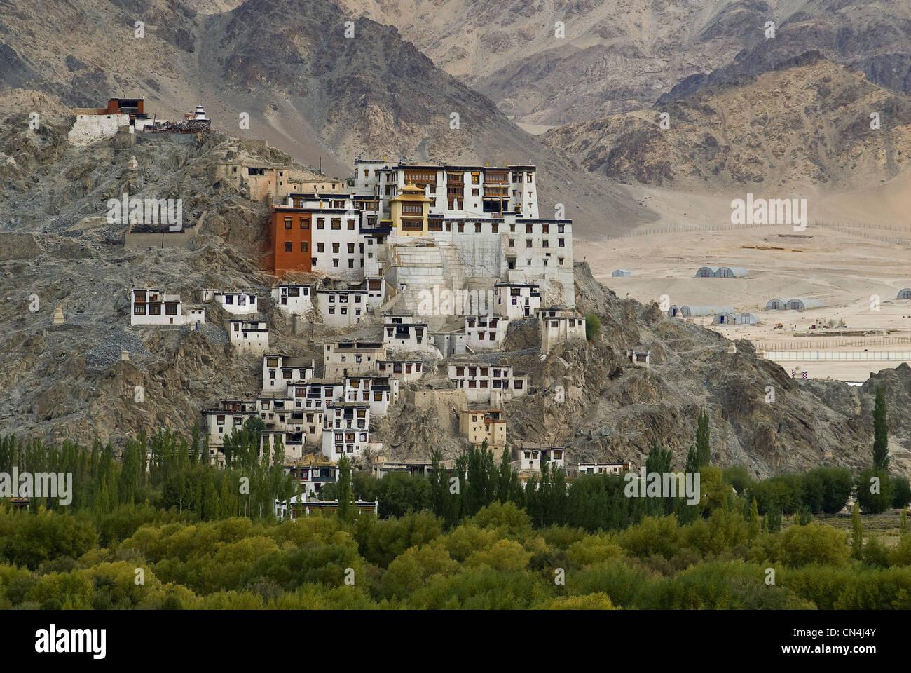 India, Jammu and Kashmir State, Ladakh Region, Himalayan foothills, monastery above Leh - Stock Image