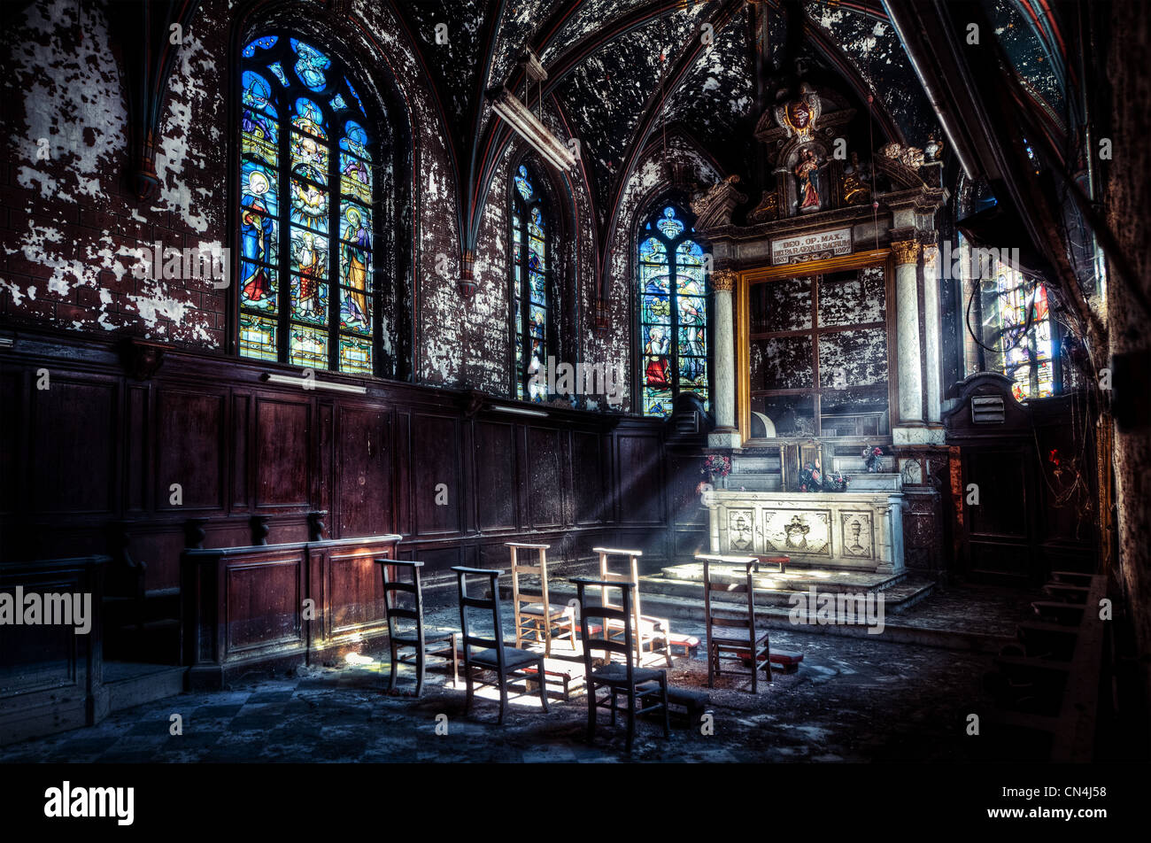 Sunbeams in abandoned church - Stock Image