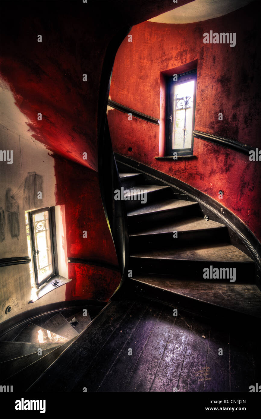 Dilapidated staircase - Stock Image