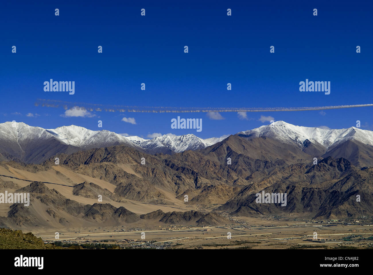 India, Jammu and Kashmir State, Ladakh Region, Himalayan foothills, nearby Leh Airport - Stock Image