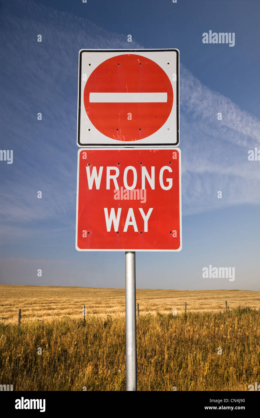 Wrong way sign - Stock Image