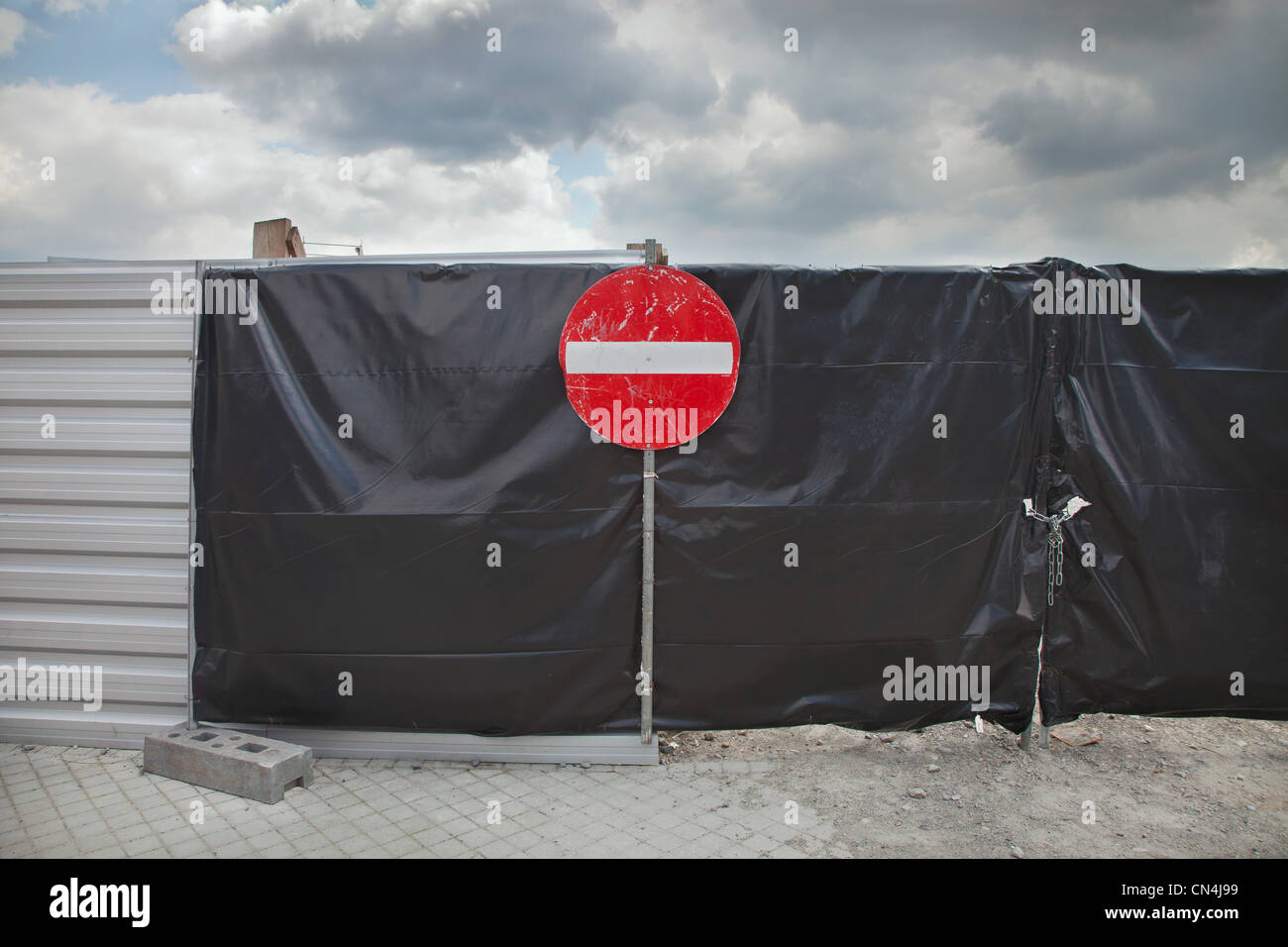 No entry sign on gate - Stock Image