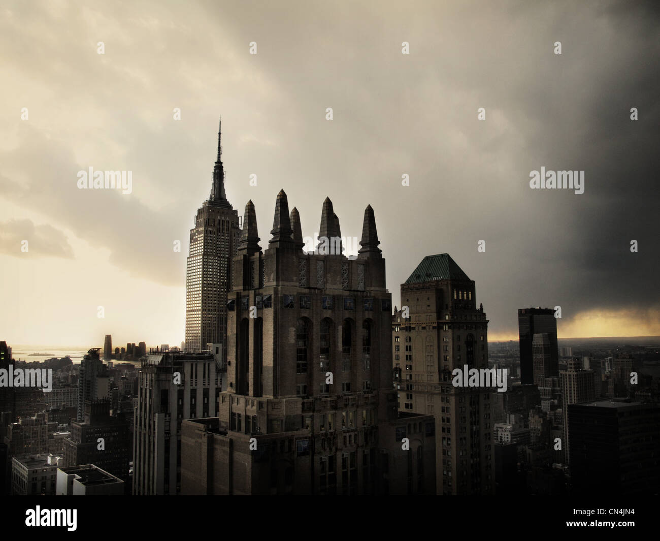 New York City with gloomy sky - Stock Image