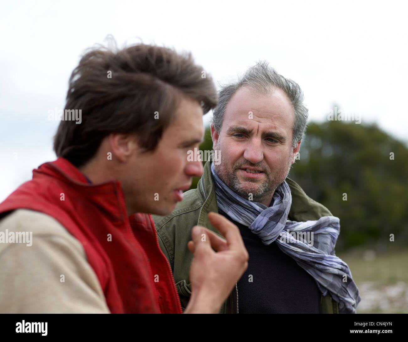 France, Larzac, Aveyron, feature: Epic Pork, the breeder Nicolas Brahic and the butcher Yves-Marie Le Bourdonnec - Stock Image