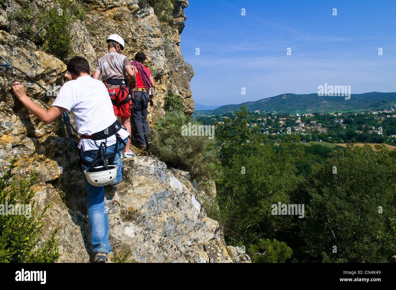 France, Ardeche, climbing on a limestone massif above Vallon Pont d'Arc in the surroundings of Salavas Stock Photo
