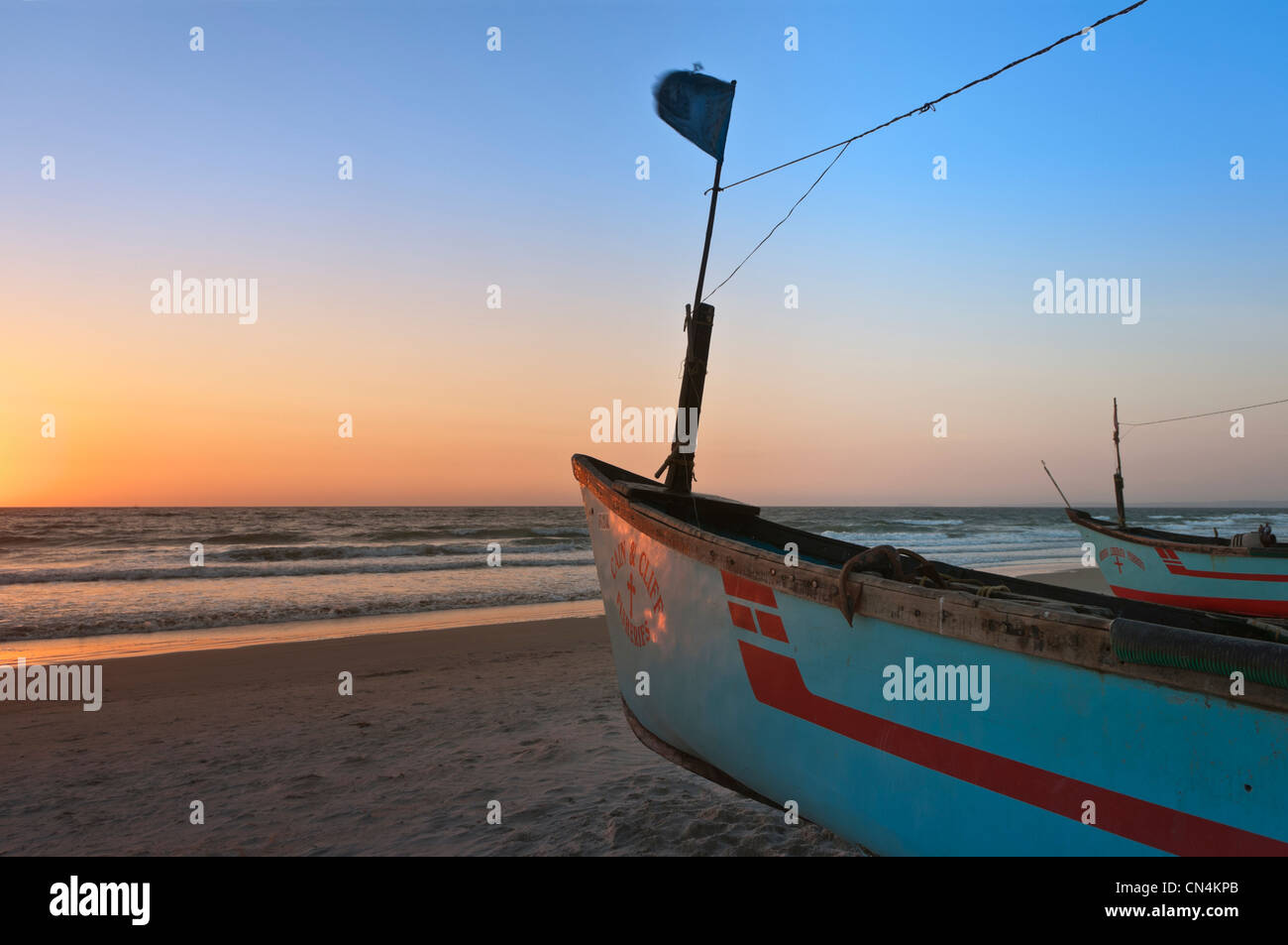 Boats on Colva Beach Goa India - Stock Image