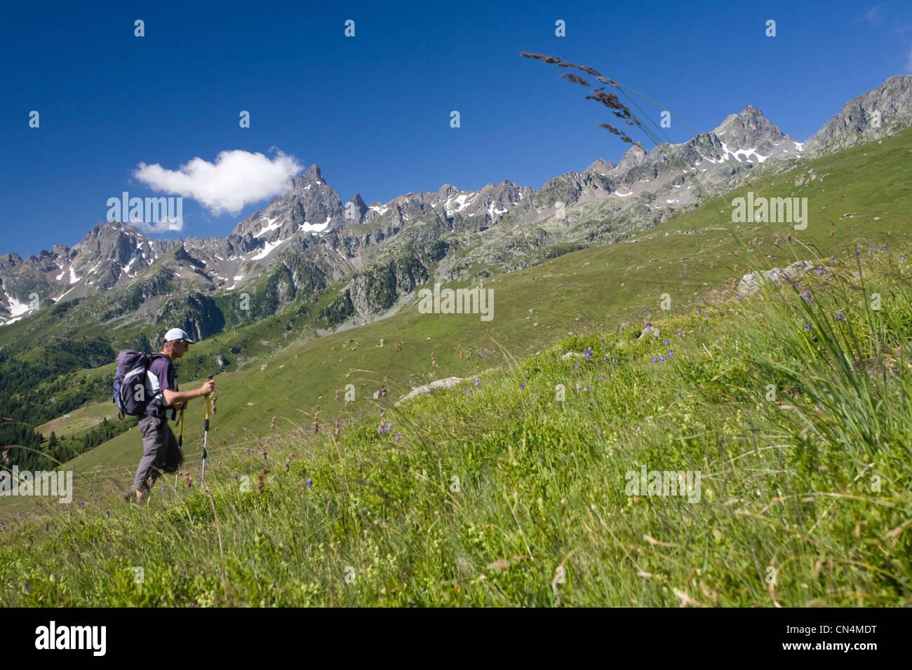 France, Isere, Oisans, Le Rivier d'Allemont, hiking to the Sciallet peak (2312m) in massif de Belledonne Stock Photo