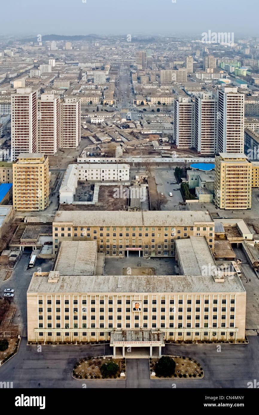 North Korea, Pyongyang, Juche tower esplanade, elevated view of the city - Stock Image
