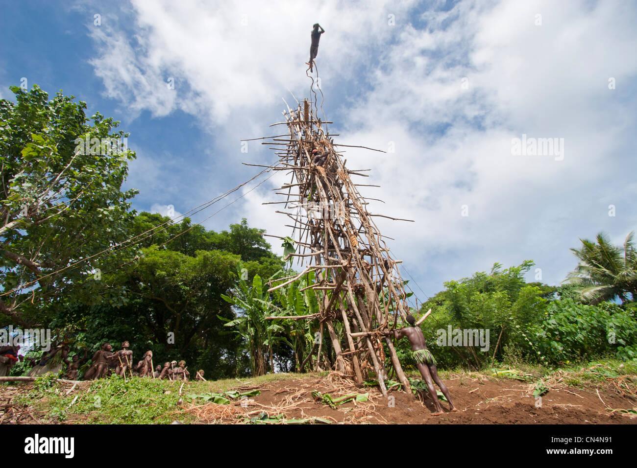 Vanuatu, Penama Province, Pentecost Island, Lonorore, Naghol, traditional land diving, rite of passage from childhood - Stock Image