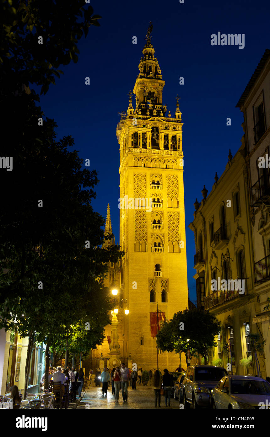 Spain, Andalusia, Seville, la Giralda Tower, former Almohad minaret of the Great Mosque converted into Cathedral - Stock Image