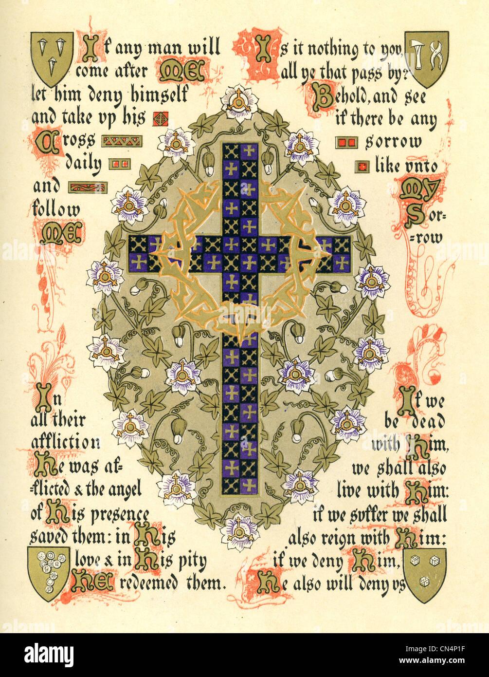 Illuminated symbol depicting the festival of Septuagesima and Lent. - Stock Image