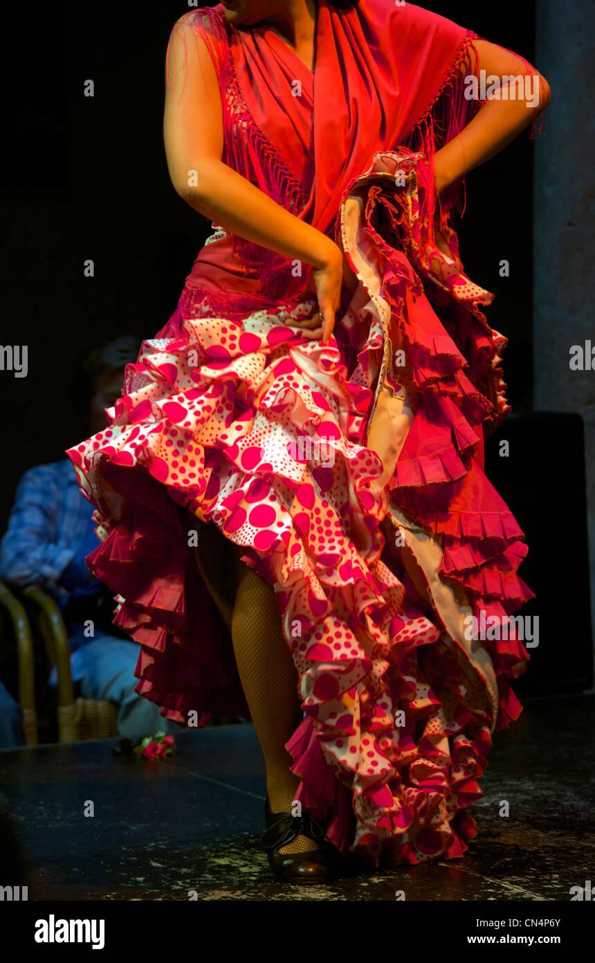 Spain, Andalusia, Seville, Museo del Flamenco (Museum of Flamenco), Flamenco show - Stock Image